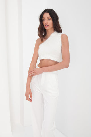 Knit Crop Jumper - White