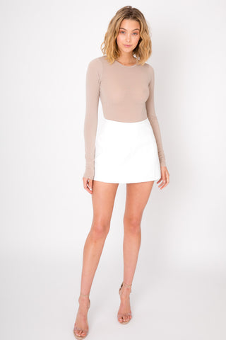 Long Sleeve Crop - Tan