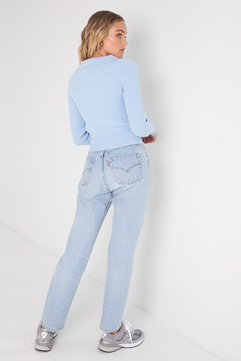 Knit Crop Jumper - Sky