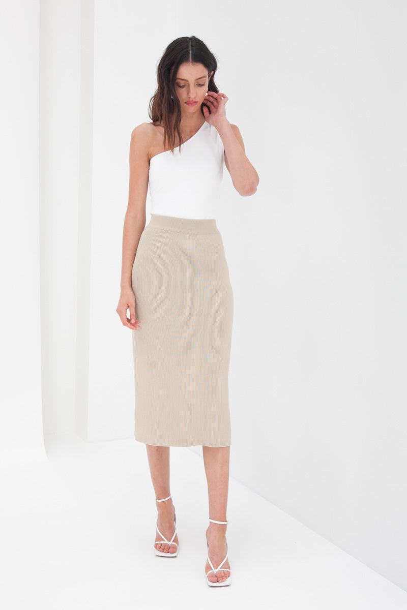 Knit Midi Skirt - Tan