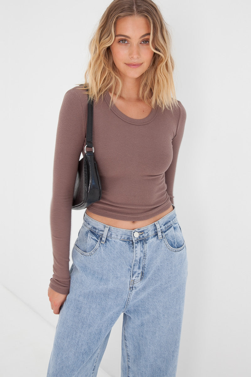 Knitted Crop Top - Chocolate