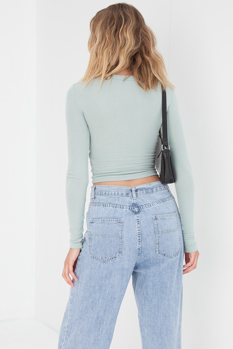 Knitted Crop Top - Seafoam