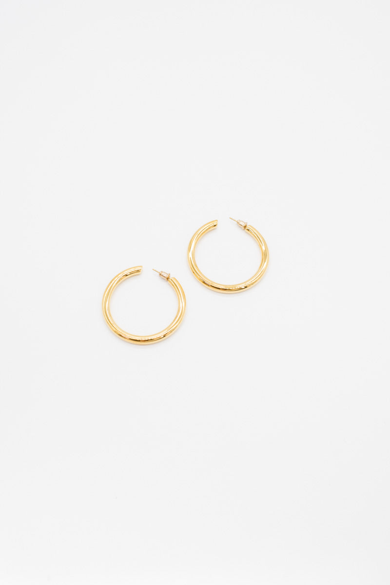 Large Gold Hoops - 14K Gold Plated