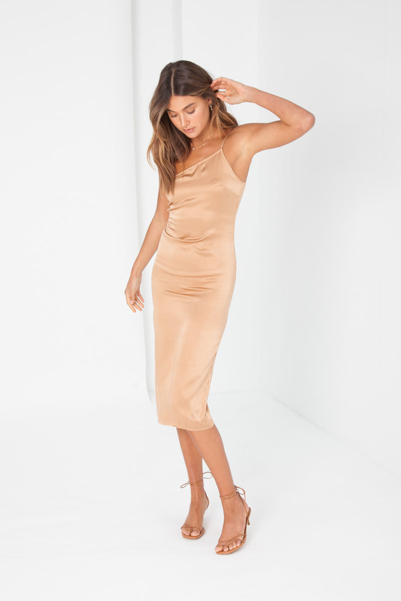 Silk Jordanna Dress - Gold