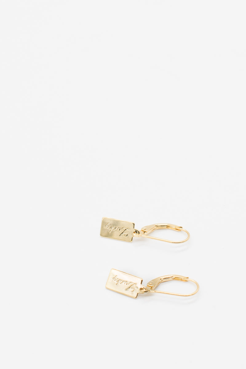 Lucky Tag Earrings - 14K Gold Plated