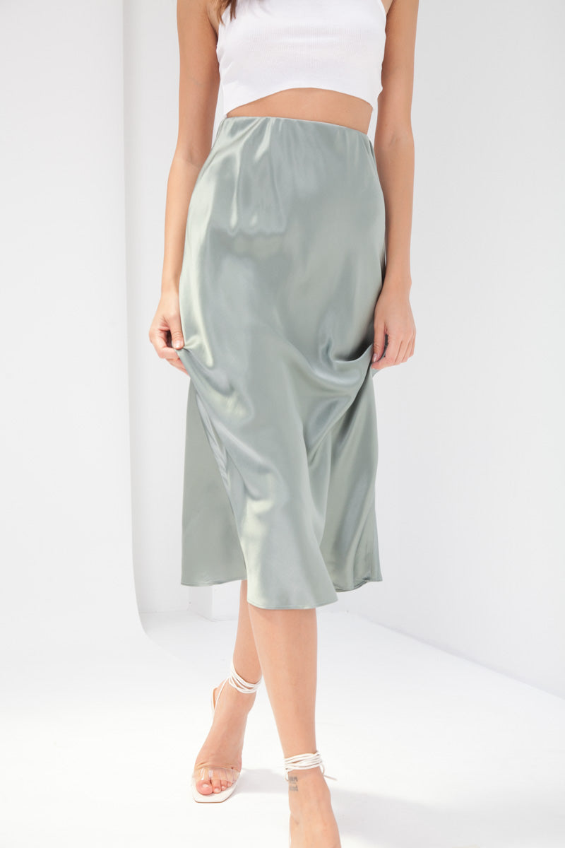 Madeline Silk Skirt - Teal