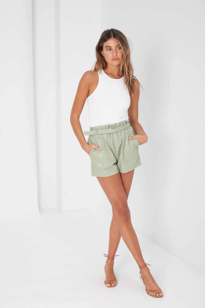 Taylor Shorts Faux Leather - Mint