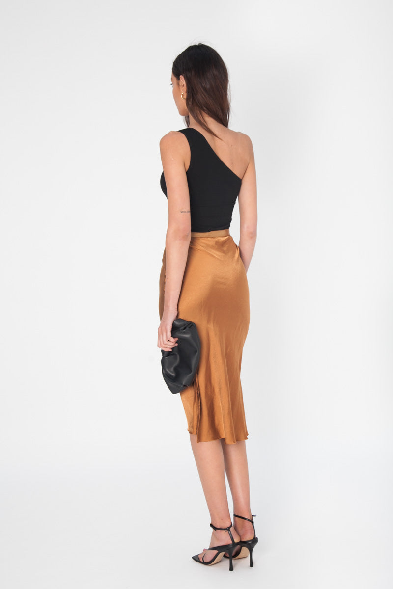 Nina Midi Skirt - Burnt Orange