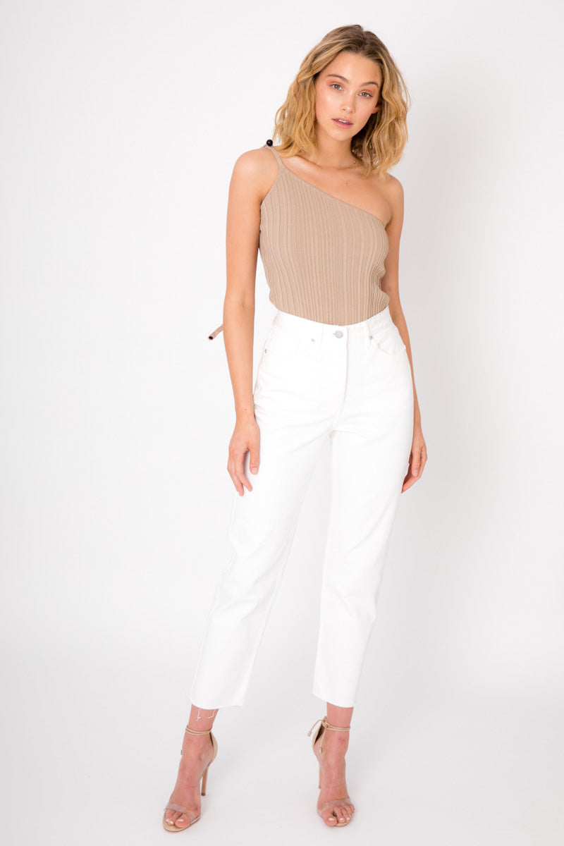 One Shoulder Top - Nude