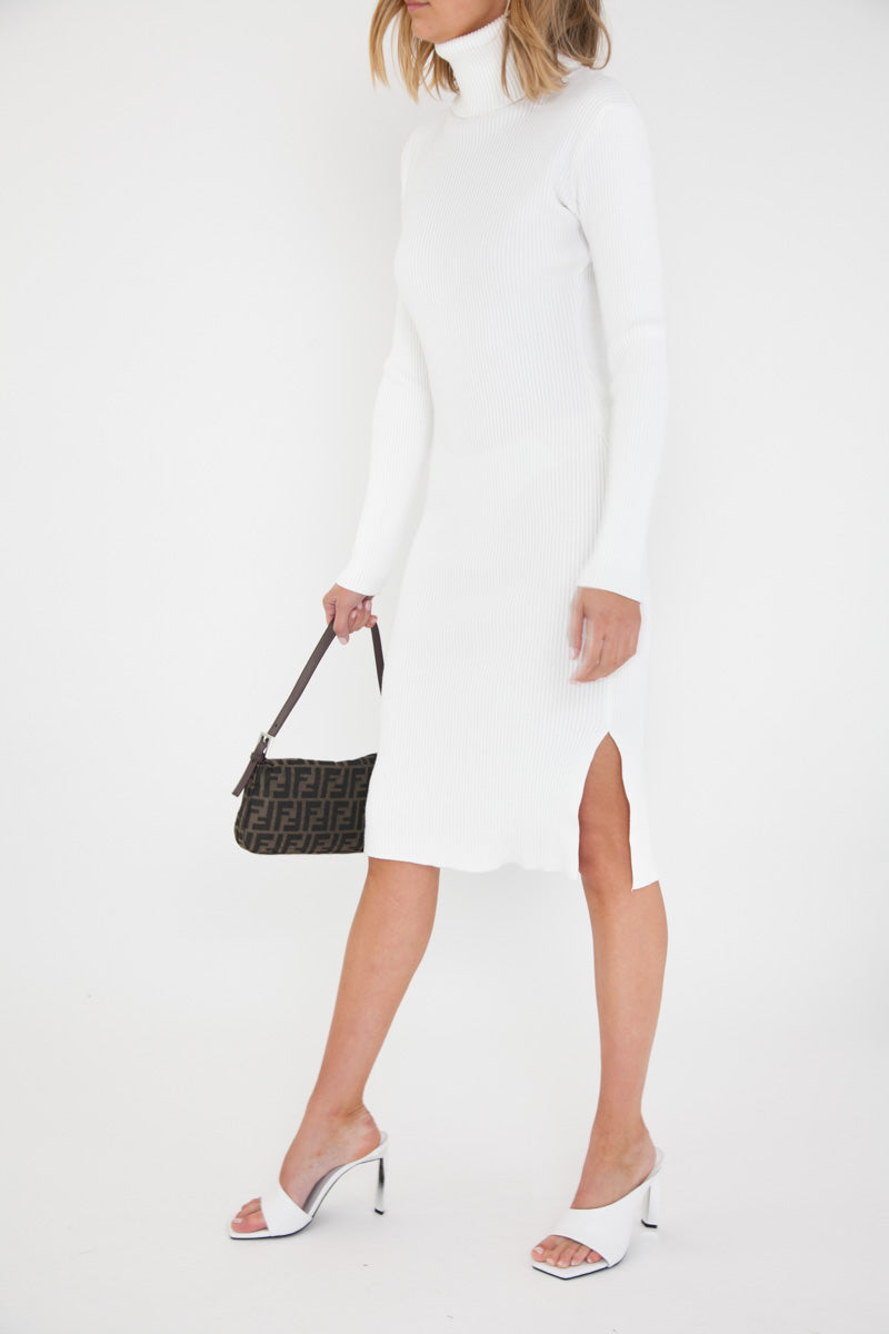 Ribbed Knit Dress - White