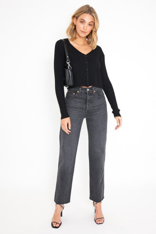 Long Sleeve Crop - Black