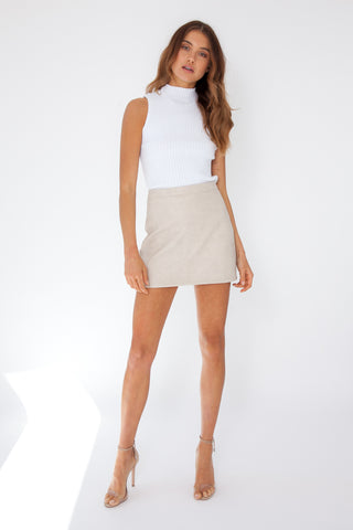 Ribbed Mini Dress - Tan