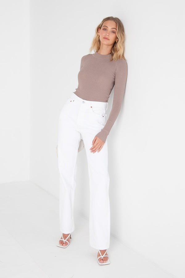 Ribbed Knit Top - Mocha
