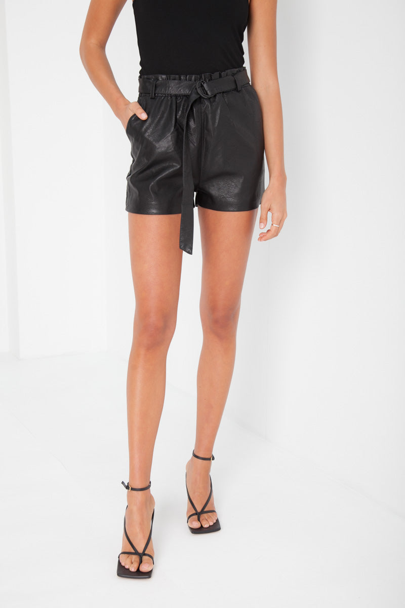 Faux Leather Rosie Shorts - Black