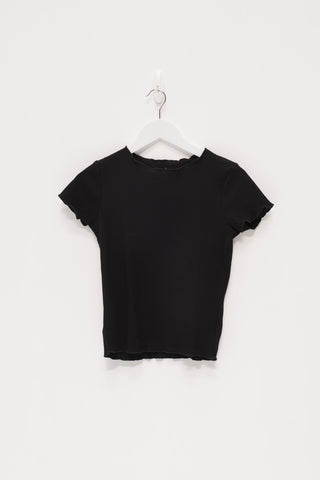 Baby Ribbed Knit Top - Black