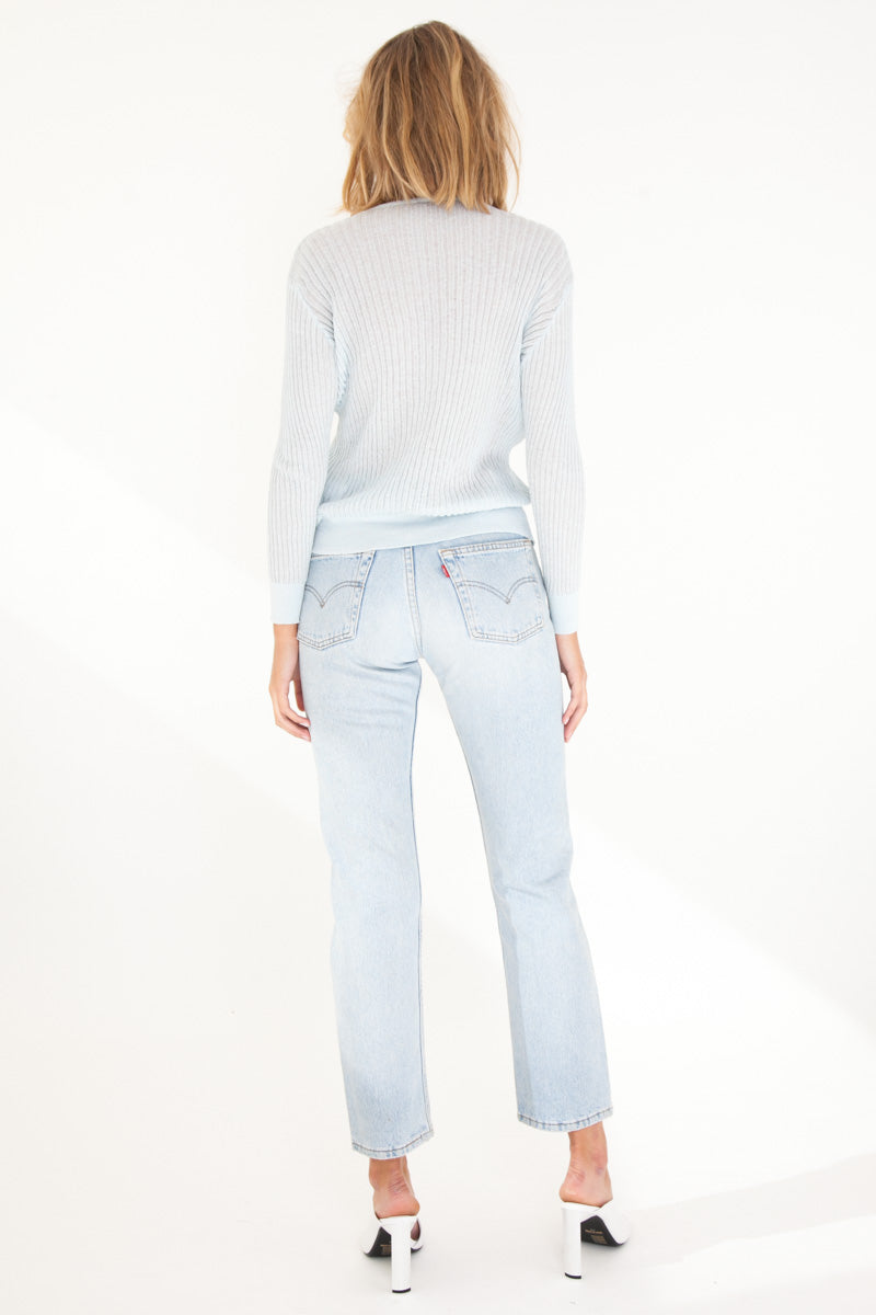 Semi Sheer Cardigan - Powder Blue