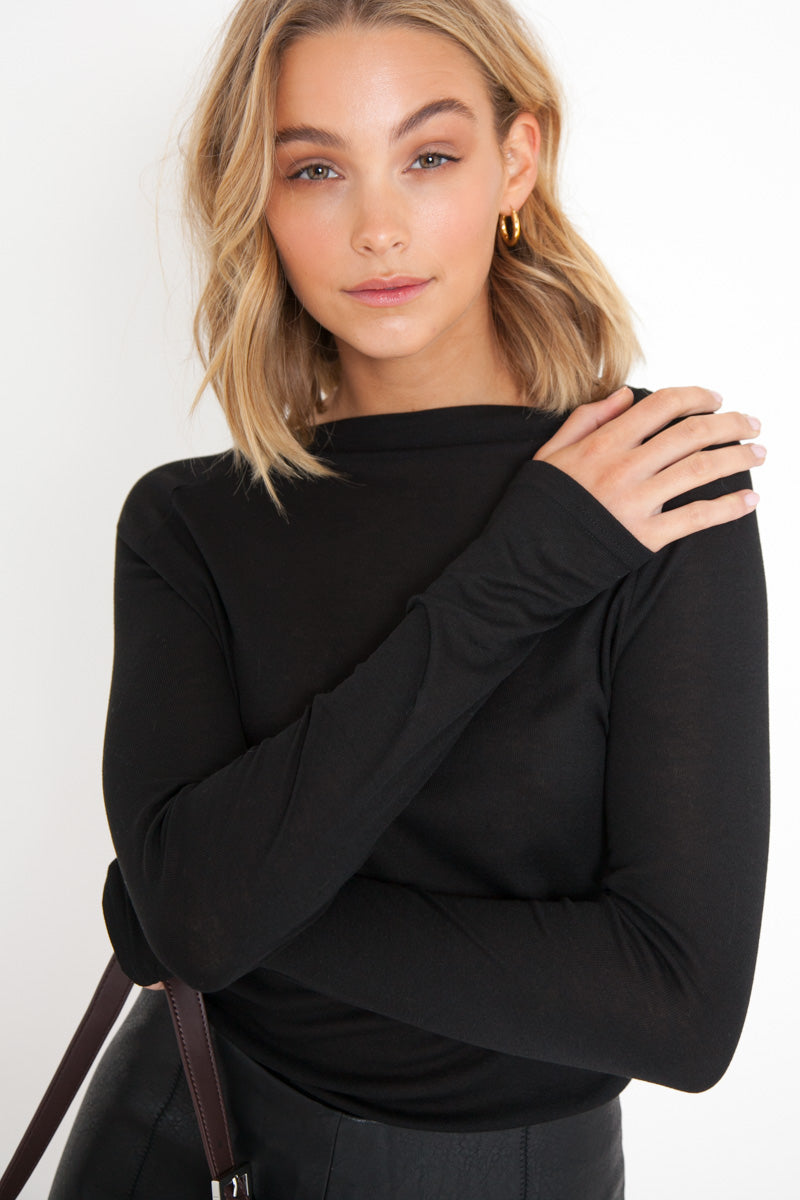 Long Sleeve Semi Sheer Top - Black