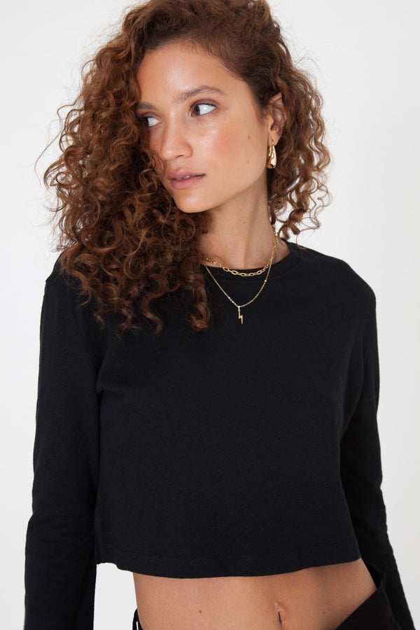 Slouchy Crop Long Sleeve - Black