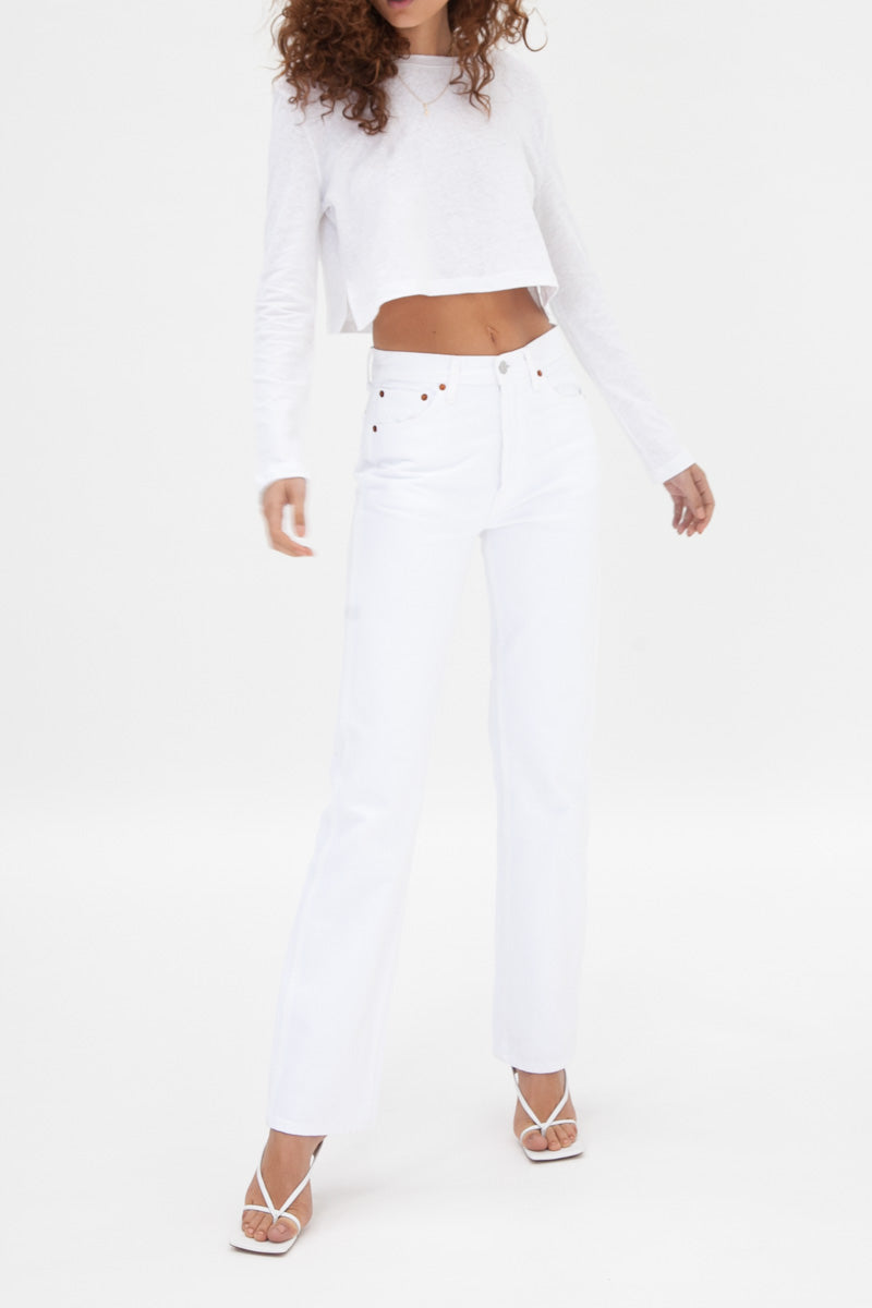Slouchy Crop Long Sleeve - White