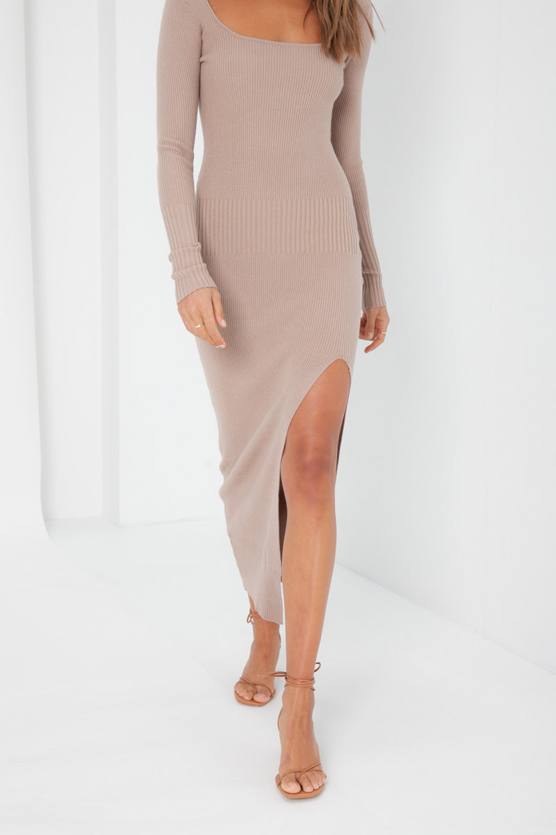 Stacey Knit Dress - Tan