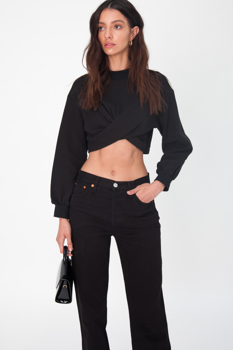 Twist Front Sweater - Black