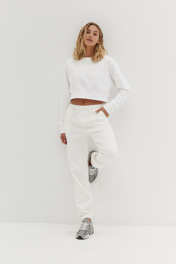 Billie Crop Jumper - White