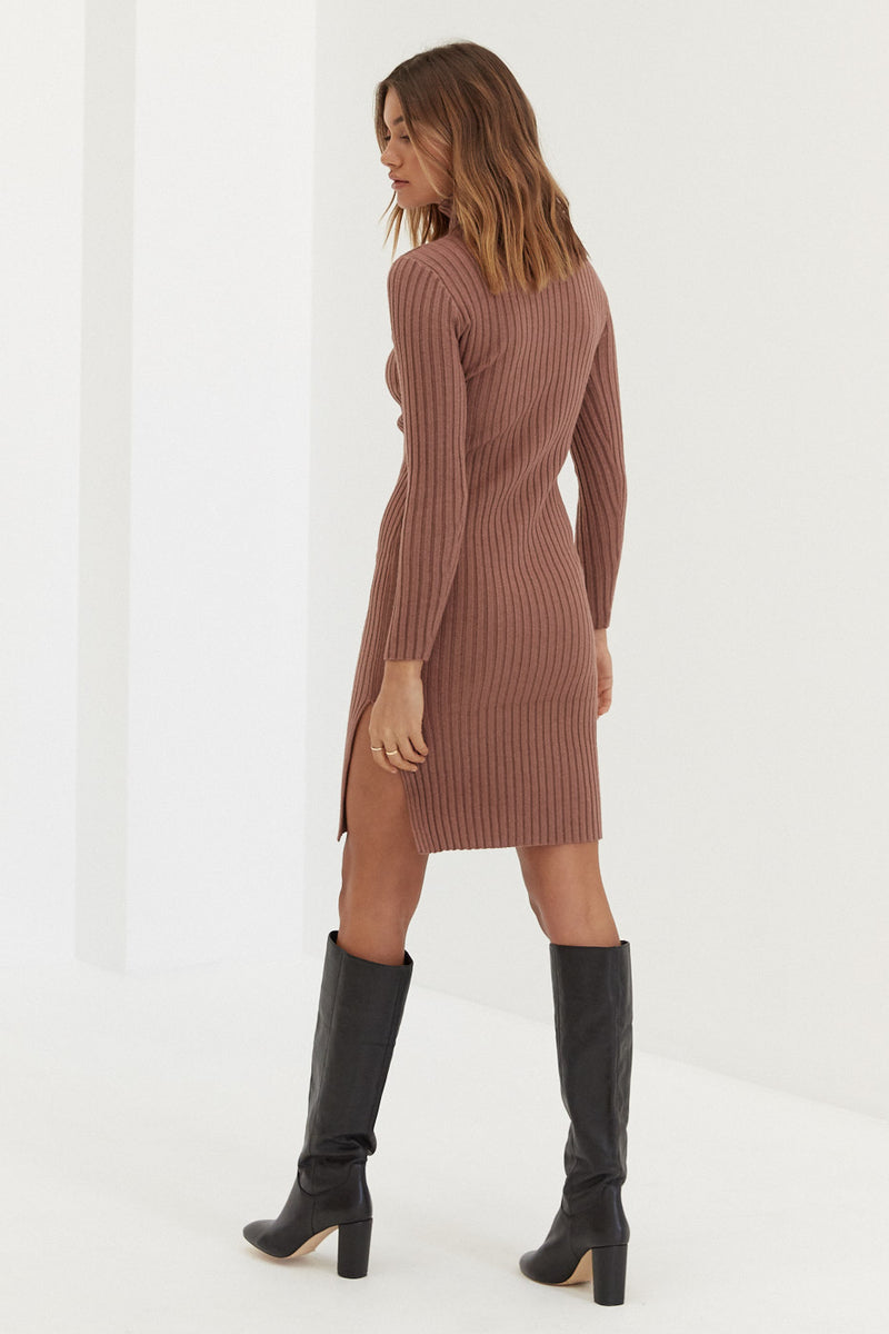 Knit Dress - Brown