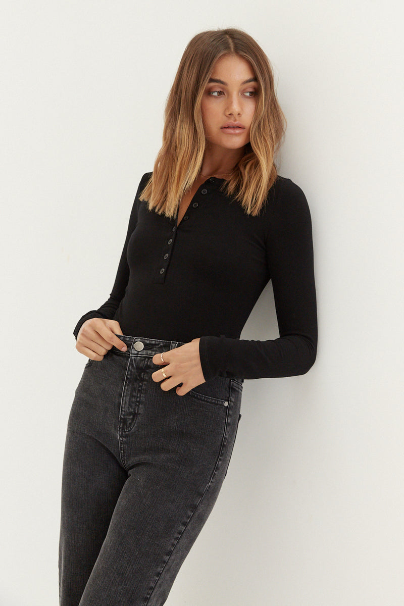 Long Sleeve Button Bodysuit - Black