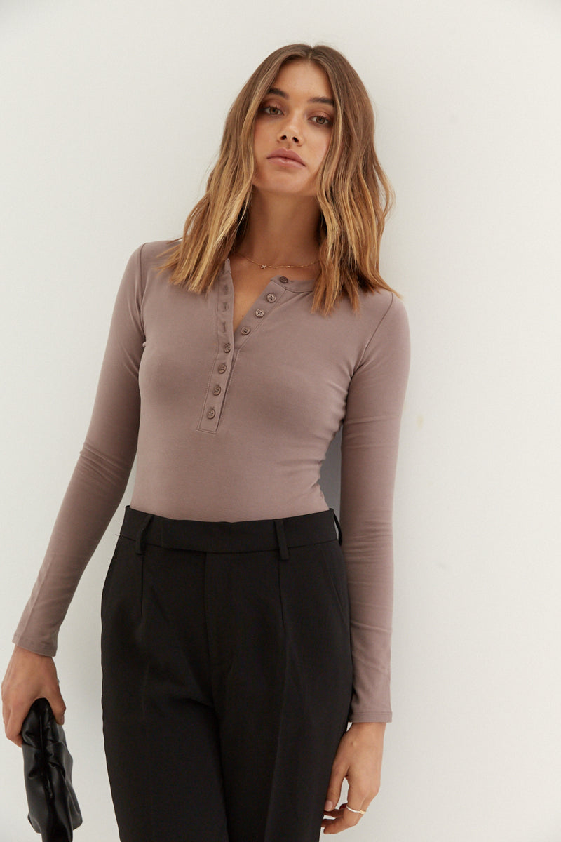 Long Sleeve Button Bodysuit - Taupe