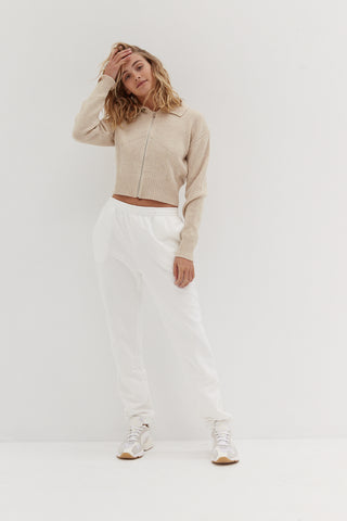 Tan Long Sleeve Ribbed Top