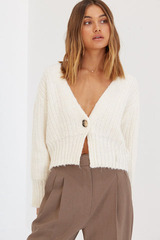 Button Crop - White