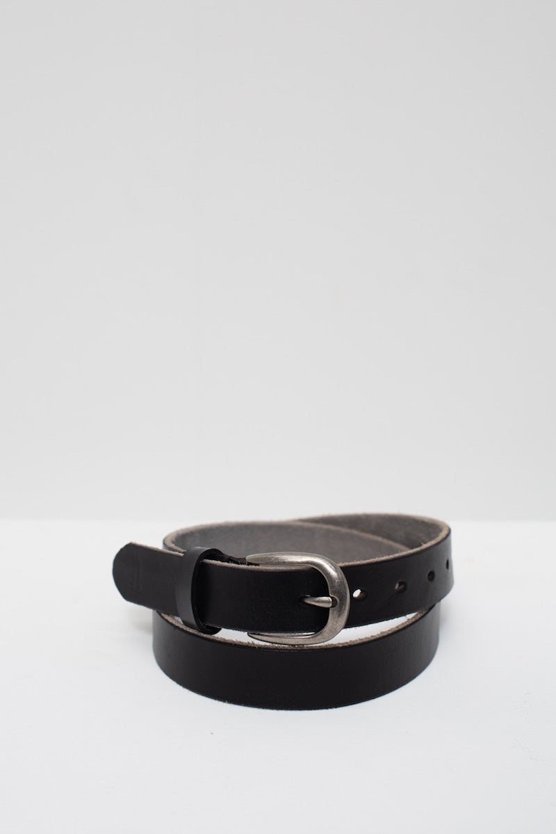 Medium Leather Buckle Belt - Silver