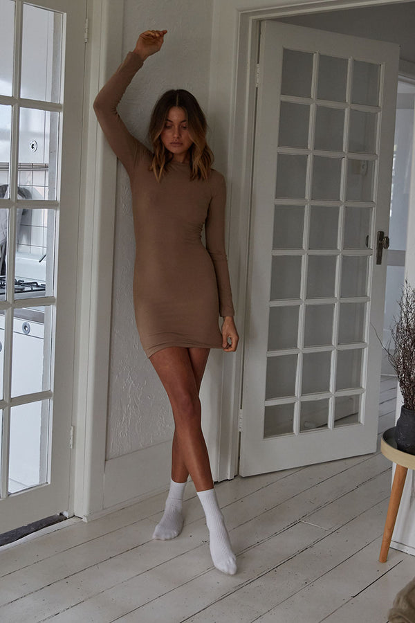Long Sleeve Ribbed Dress - Tan