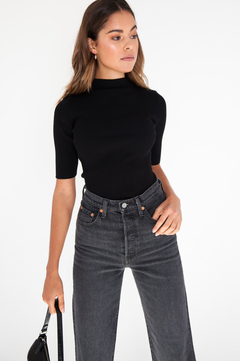 Ribbed Knit Top - Black