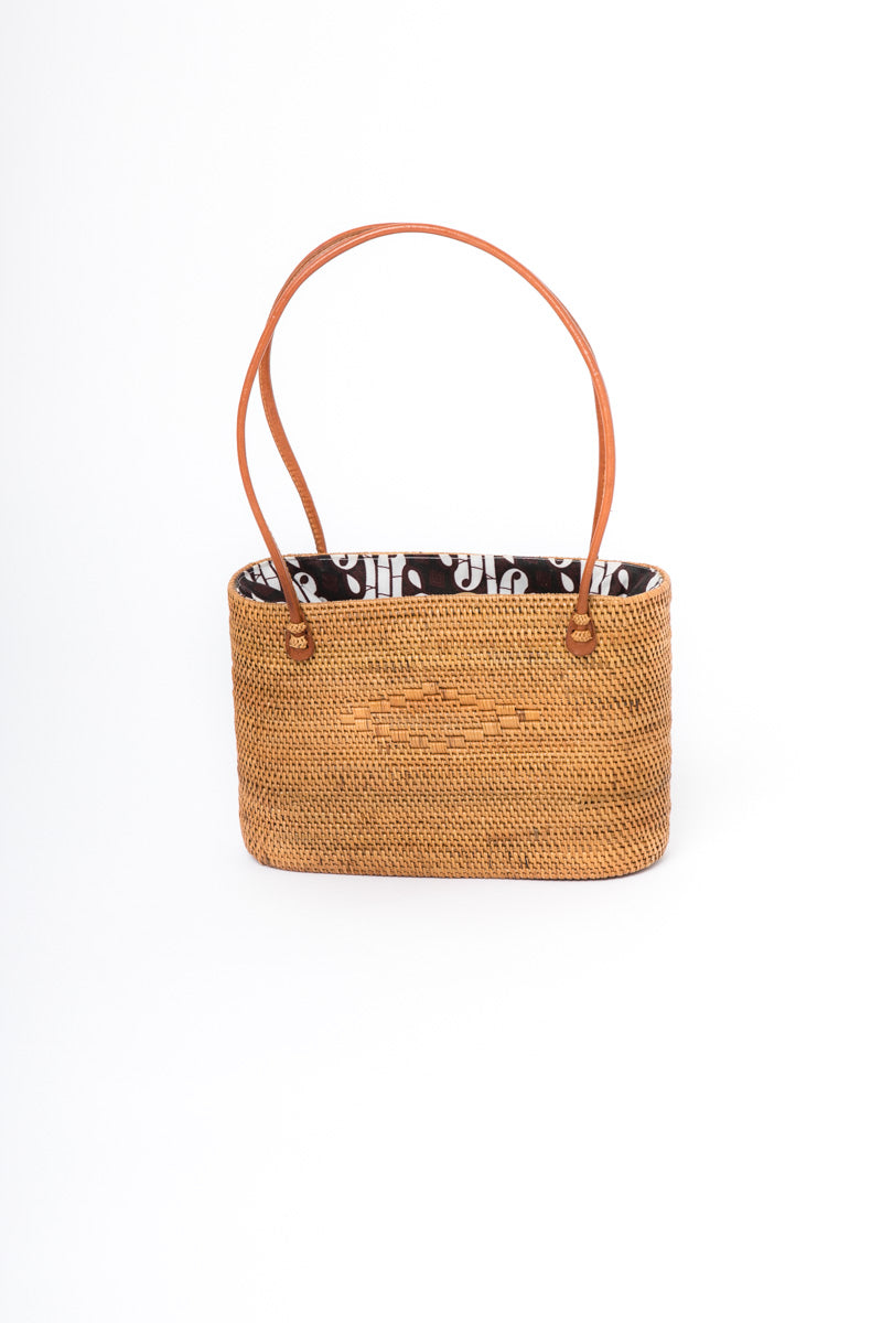 Rattan Bag - Leather handles