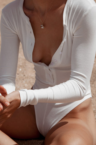 Long Sleeve Bodysuit - White