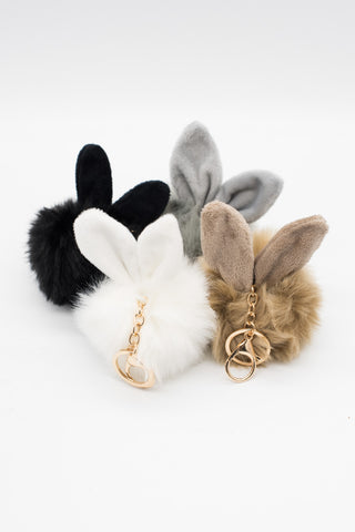 Bunny Pom Keyring / Keychain - Light Brown (Faux Fur)