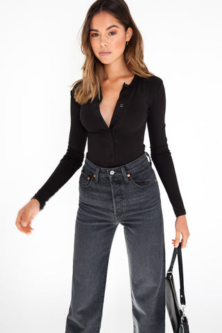 Slouchy Long Sleeve Top - Black