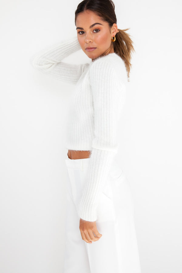 Koda Fluffy Knit Top - White