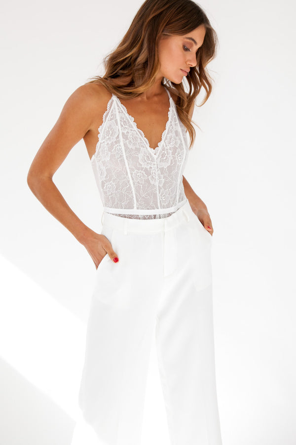 Lace Bodysuit - White / OUTLET