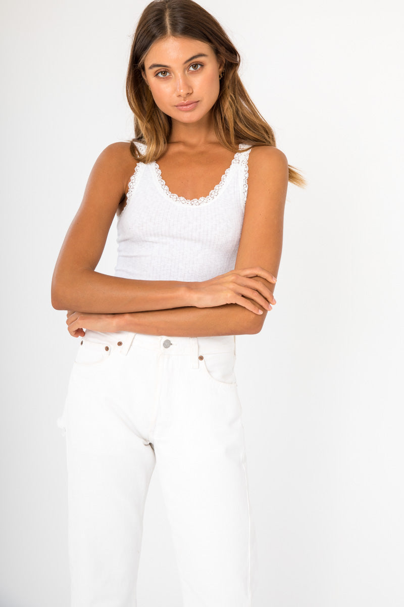 Lace Trim Tank - White