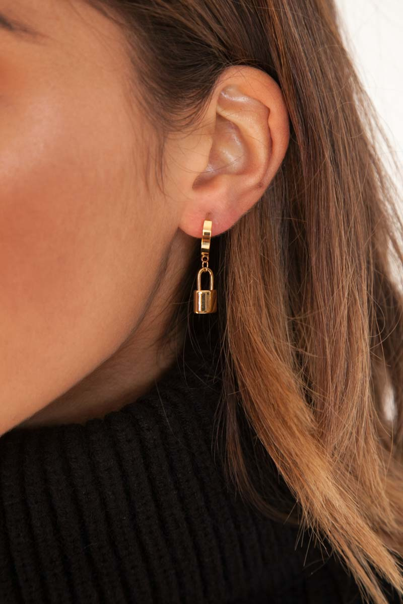 Lock Earrings - Gold Plated