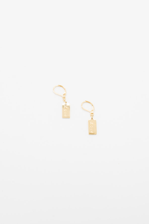 Love Tag Earrings - 14K Gold Plated