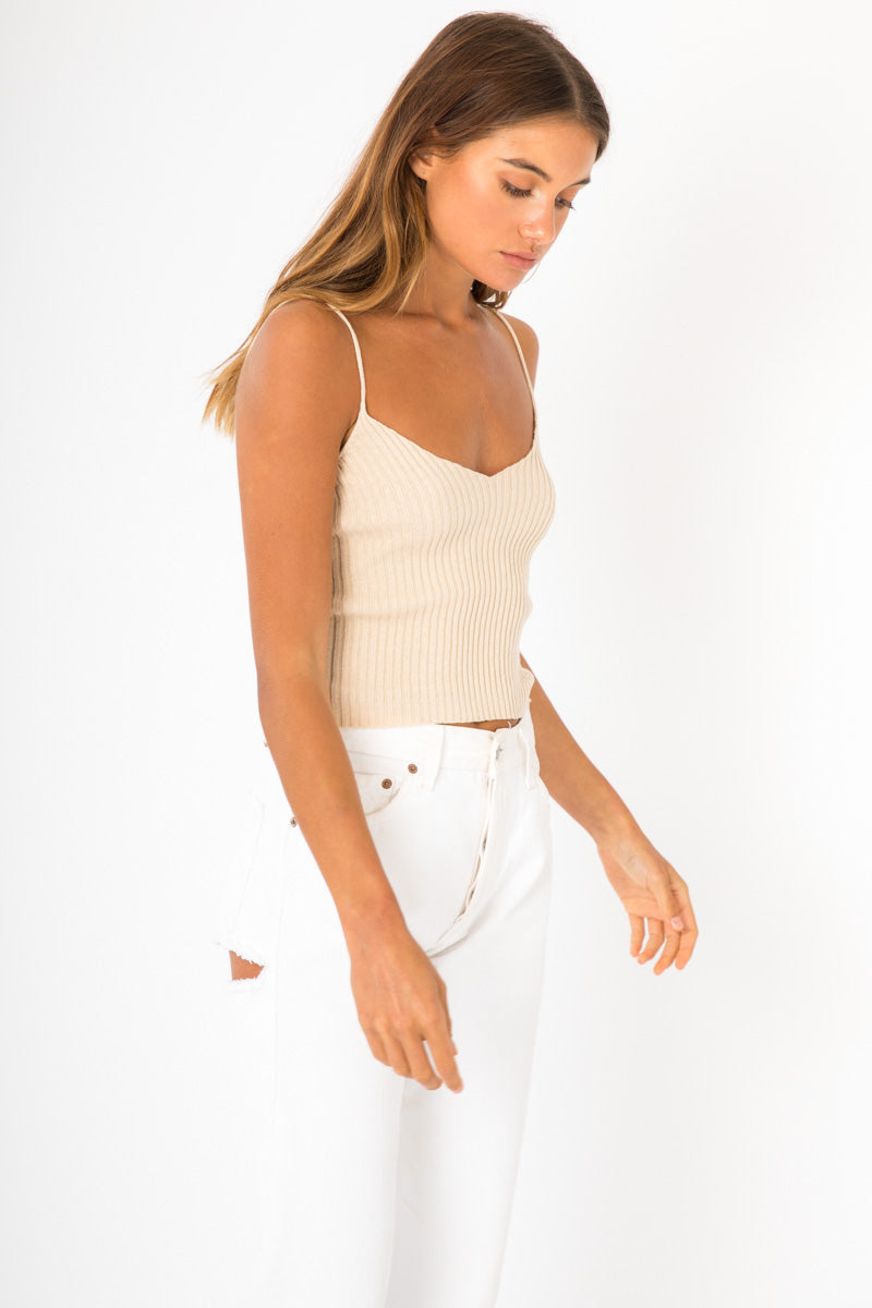 Moda Ribbed Knit Top - Nude