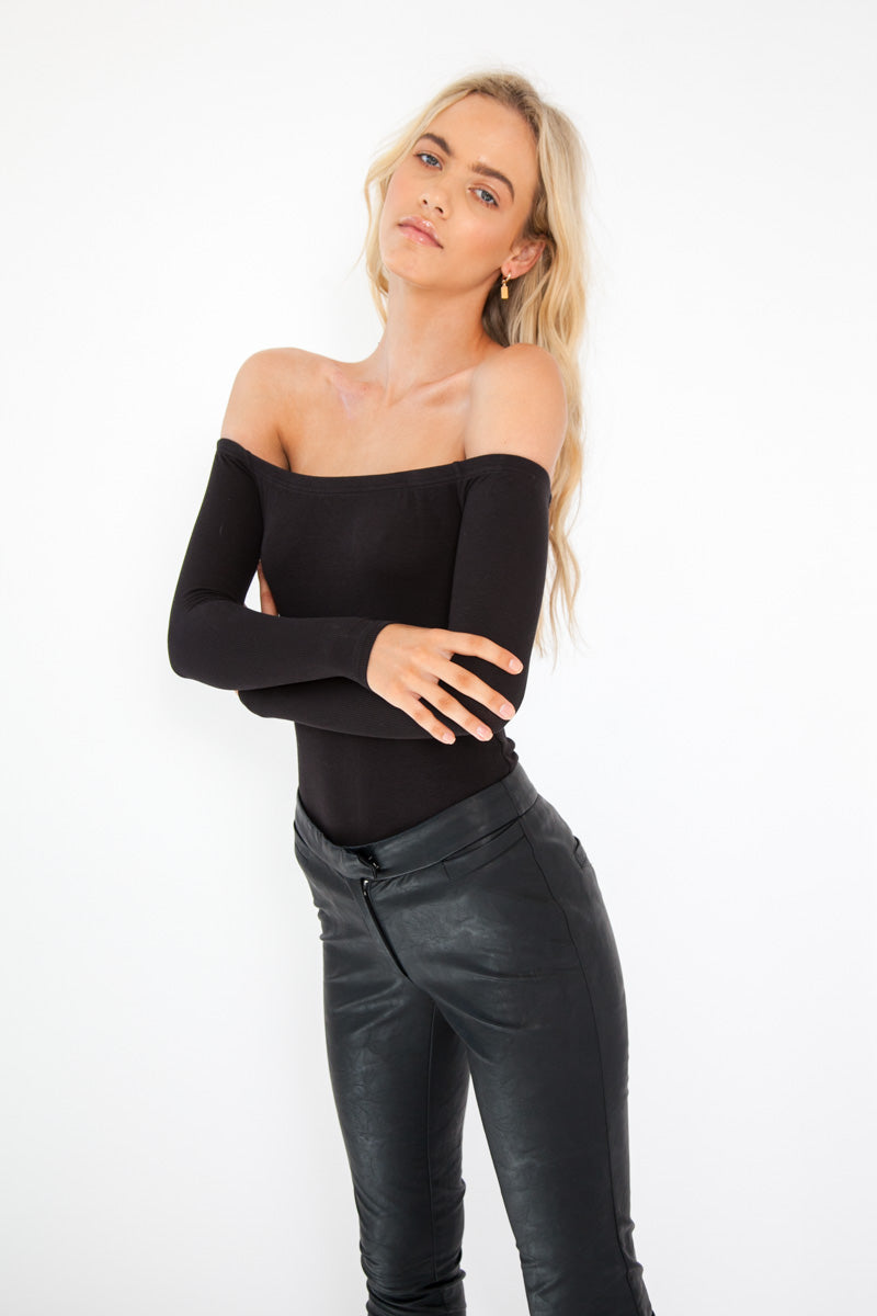 Off The Shoulder Bodysuit - Black
