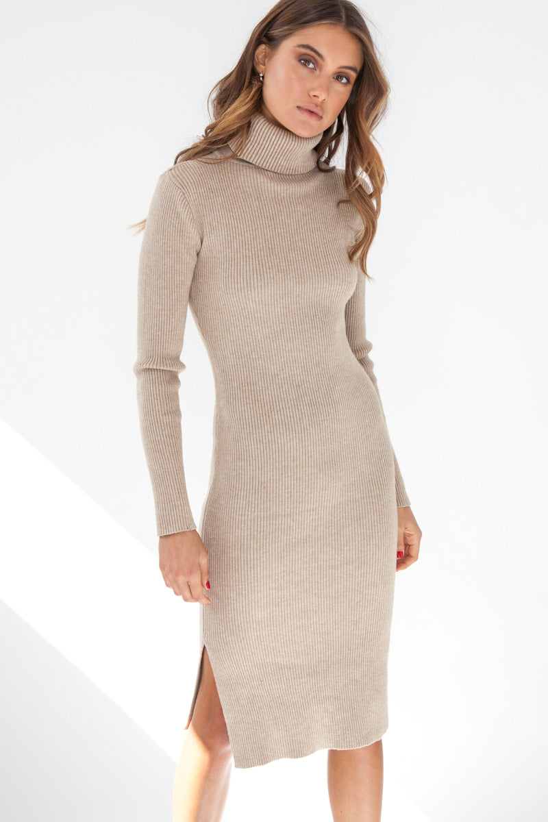 Ribbed Knit Dress - Tan