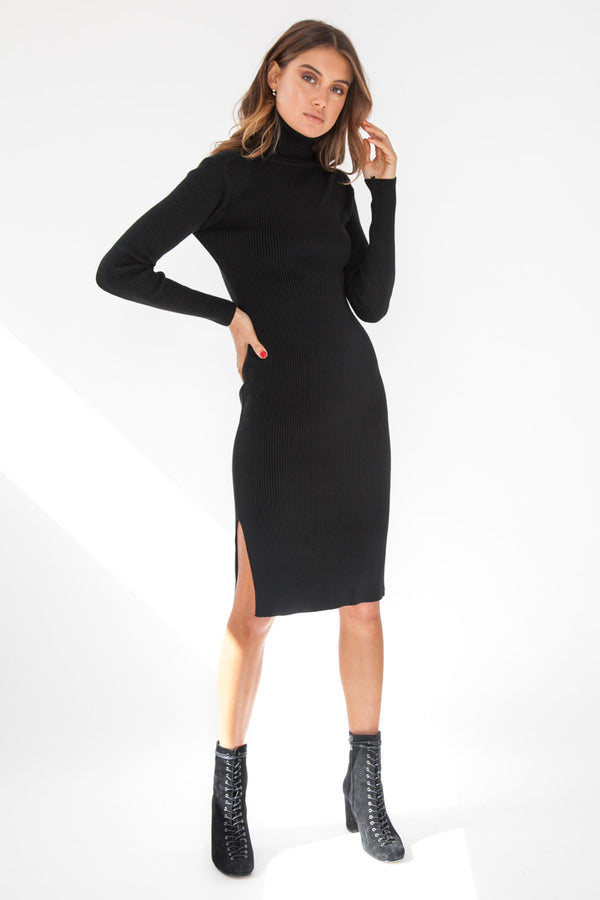 Ribbed Knit Dress - Black