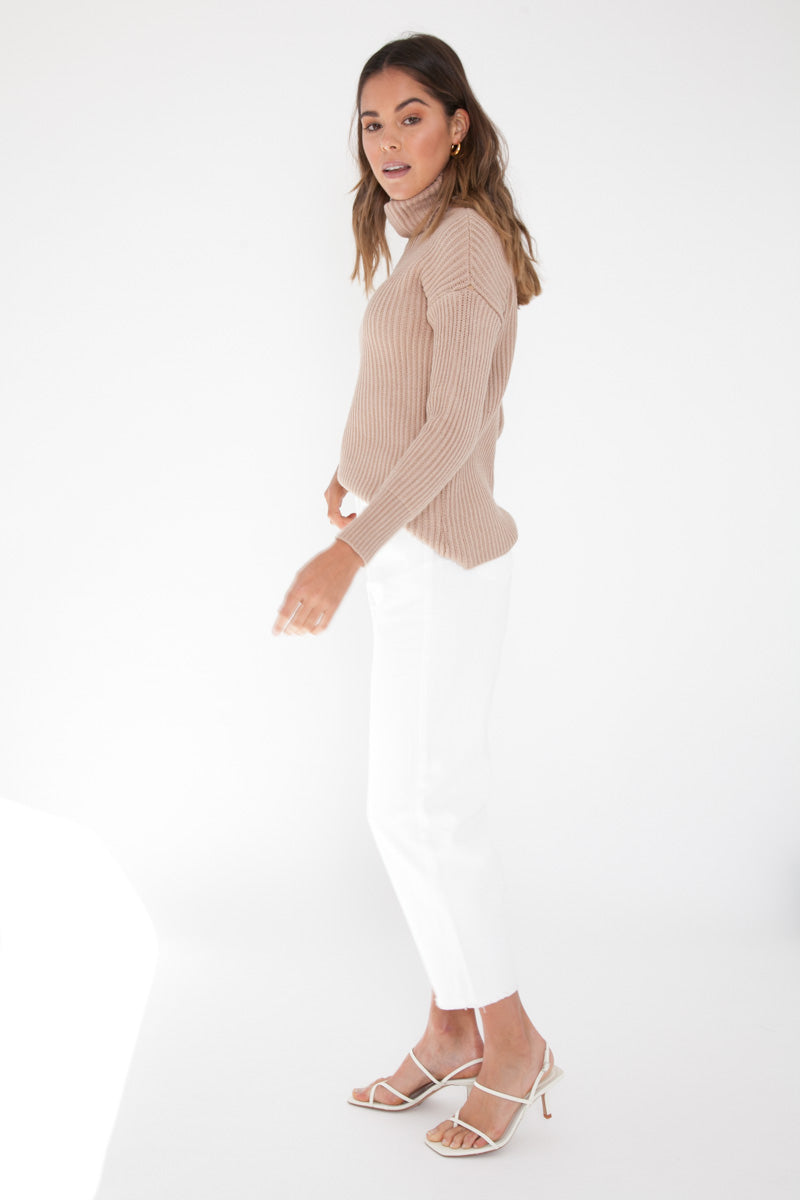 Slouchy Knit Jumper - Tan