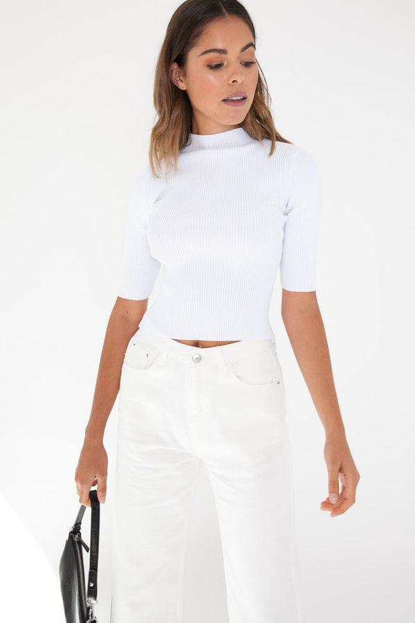 Ribbed Knit Top - White