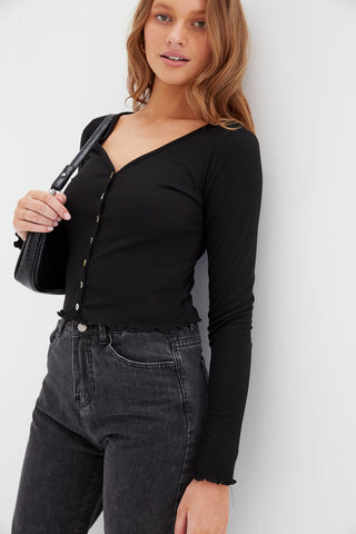 Drawstring Crop Cardi - Black